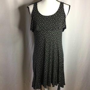 CYNTHIA ROWLEY Black White Polka Dot Dress Midi L